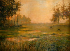 Landscape with Cows, an acrylic practice painting (Elizabethc) Tags: trees sunset summer sky orange brown sun green art fall water grass leaves yellow sunrise painting cow spring bush artwork weeds stream artist acrylic cattle michigan branches brush brook livestock bushes grazing graze battlecreek elizabethcrabtree crabtreeoriginals