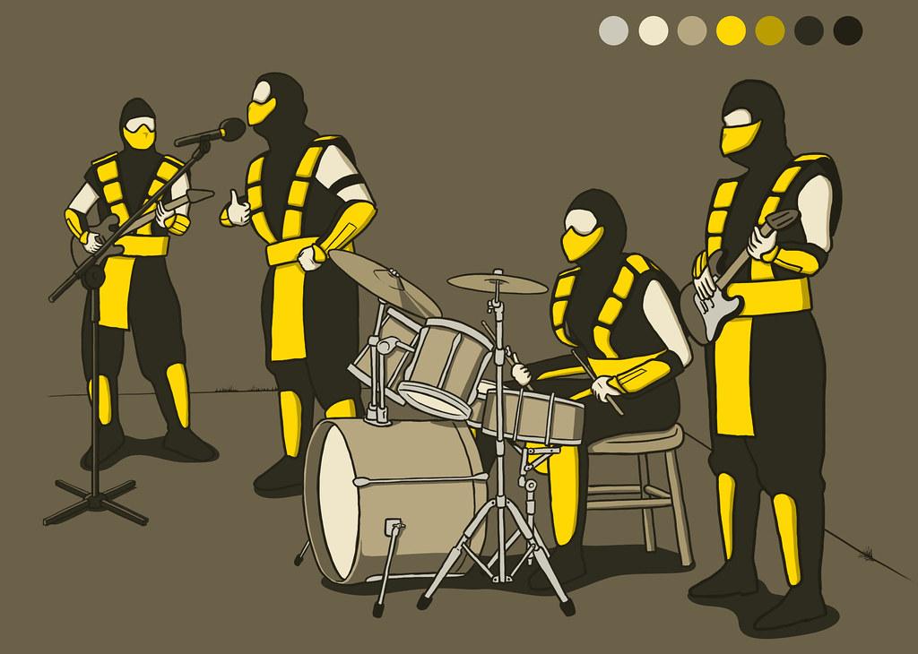 desenho comico satirizando a banda scorpions e mortal kombat