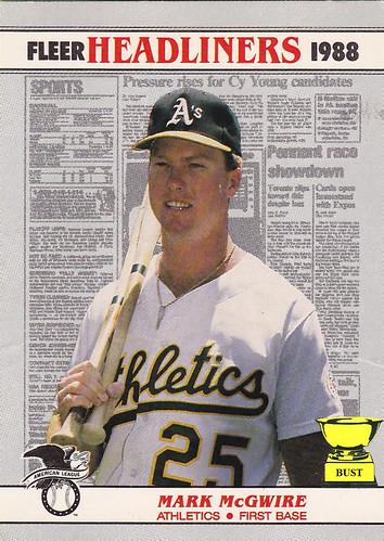 Baseball Card Bust Mark Mcgwire 1988 Fleer Headliners