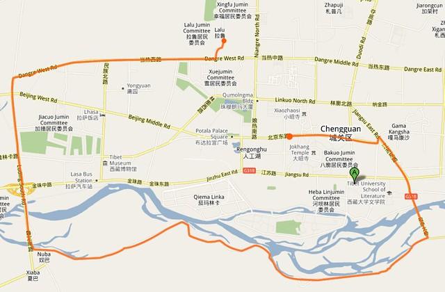 拉萨骑车地图