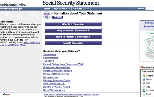 Social Security Statement Online Form