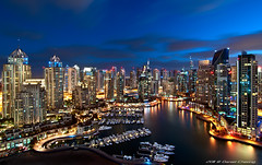 Glittering Marina [1] (DanielKHC) Tags: blue light sea water night clouds marina reflections boats high nikon long exposure dubai cityscape view dynamic uae hour range hdr d300 danielcheong bratanesque danielkhc tokina1116mmf28 gettyimagesmeandafrica1