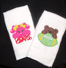 Pink Love Pig or Brown Bears Burp Cloth, Drool Cloth, Wipe, Bib, Baby Cloth, Face Wipe, Baby Burp Cloth (tddownie) Tags: bath beauty baby child care bibs burping burp cloth shower gift designer embroidered accessories nursing feeding boy girl new born set