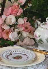 Setting the Table (:KayEllen) Tags: china roses table decorating teapot decor teaparty enchanting