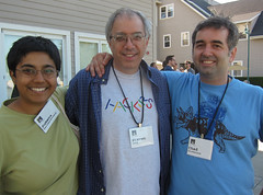 Sumana Harihareswara, Steven Levy, and Chad Dickerson at Foo Camp 2010, photo by Scott Beale / Laughing Squid / http://laughingsquid.com/