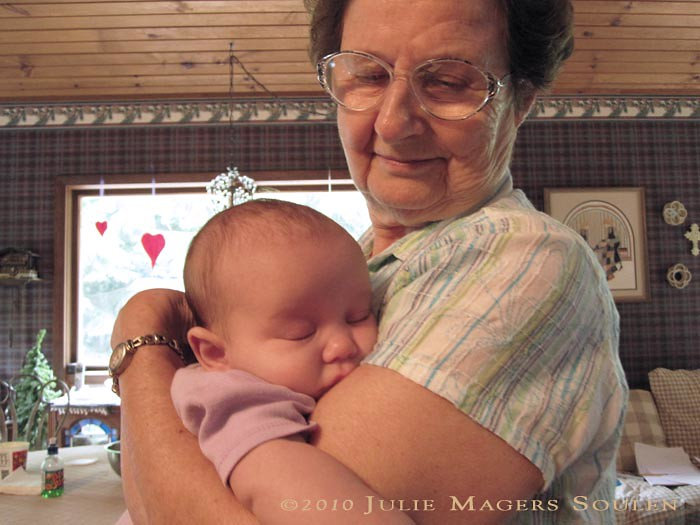 Great grandmother and new baby