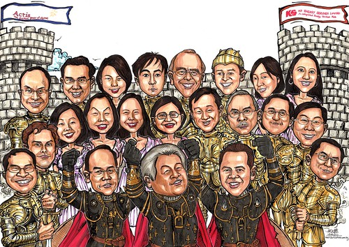 Group caricatures for Pricewaterhouse Coopers A3
