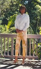 Leather Jacket 1 (Melissa451) Tags: cd melissa crossdresser whiteblouse whiteleatherjacket satinpants