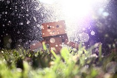 Sprinkler Magic (willycoolpics.) Tags: sun water dof action bokeh figure flare picnik sprinklers ohwell sunflare danbo revoltech danboard notthebestshotbutilikeit