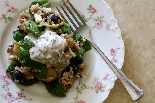 Wild Rice Salad with yogurt vinaigrette