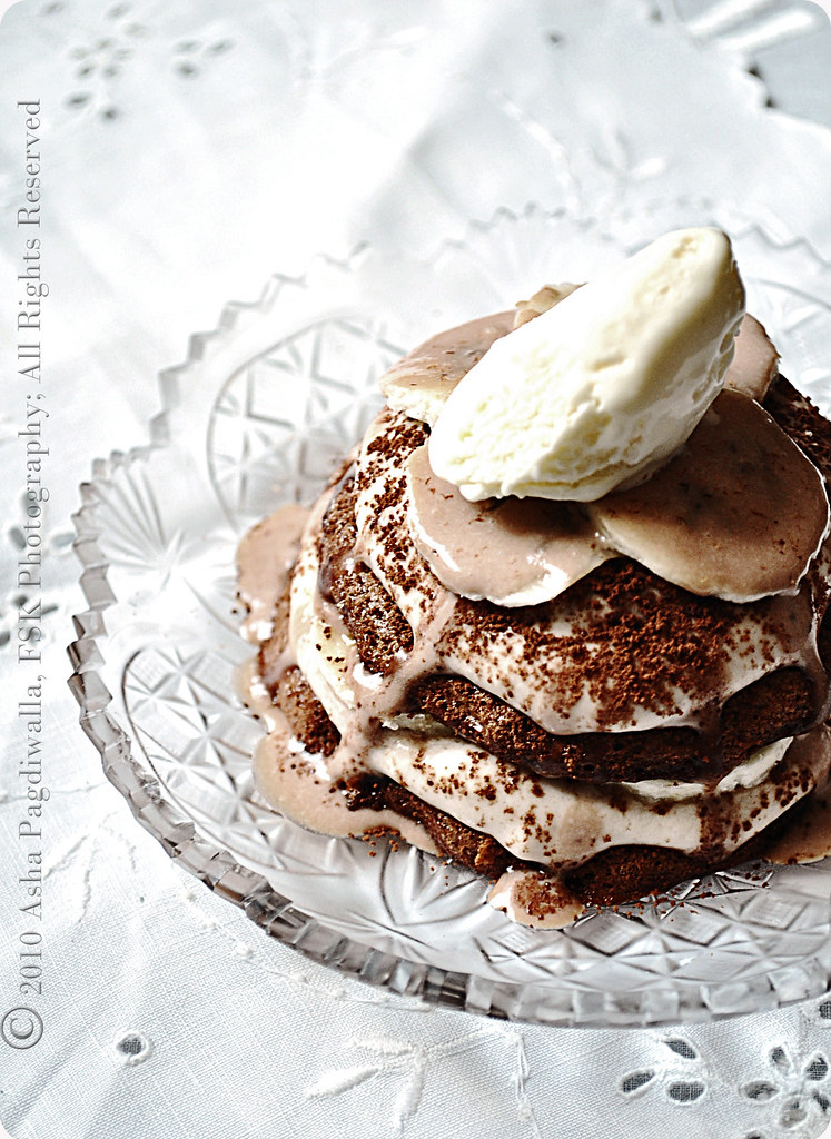 Choc Pavlova + Banana mascarpone mousse + Vanilla mascarpone ice cream + choc mascarpone sauce 1