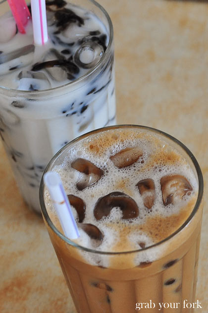 "Kopi ais iced coffee and ""black and white"" soy milk with grass jelly"
