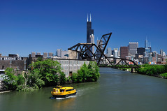 Chicago Water Taxi on the South Branch of the Chicago River (vxla) Tags: railroad bridge chicago water june skyline river illinois nikon taxi searstower bridges rail trains transportation chicagoriver hancock dslr southloop trump 2010 d90 scal southbranch stcharlesairline vxla chicagowatertaxi boct 2010s willistower 18105f35