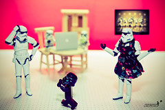 Honey..are you sure this is my son?? (achew *Bokehmon*) Tags: white trooper black home table starwars mac chair dress lego joke sony nobody stormtrooper ribbon alpha figurine wondergirl a850