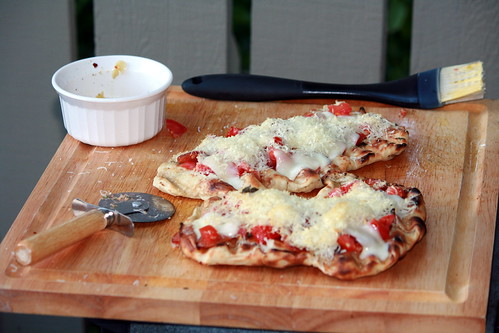 Grilled PIzza with Tomatoes, Pepperoni, Mozz and Parm
