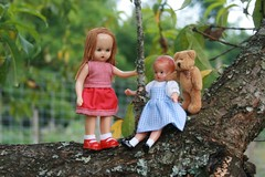 Sara, Wee Patsy and Tiny Bear Hang out in the Peach Tree (Crazyquilter) Tags: sara redridinghood 567 tinybear 5inches nancyannstorybookdoll effanbee nasb oneobject365daysproject weepatsy