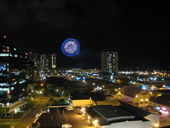 Fireworks viewed from Kaka'ako