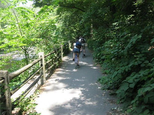 Riding along the Wissahickon trail