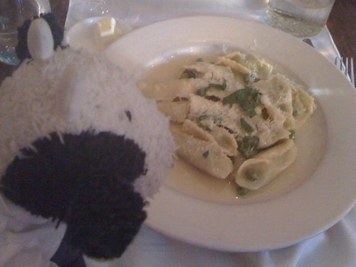 I had cheesy ravioli with peas and mint! It was yum-licious.