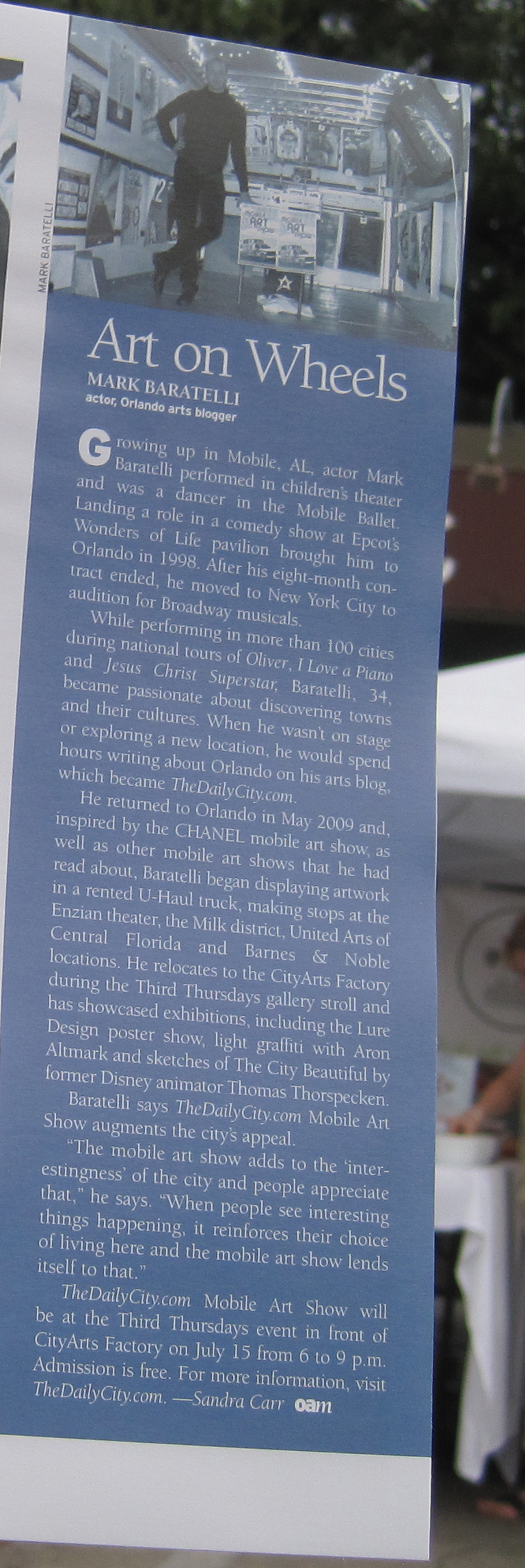 Orlando Arts Magazine feature on Mark Baratelli & TheDailyCity.com Mobile Art Show