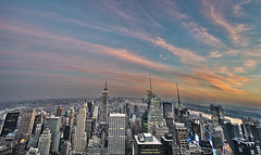 NYC Top of the Rock Sunset Manhattan New York - Globe Horizon [Explored] (DiGitALGoLD) Tags: new city nyc sunset building rock skyline night nikon shot state dusk top manhattan 4th july center empire rockefeller f28 d3 ork 1424mm