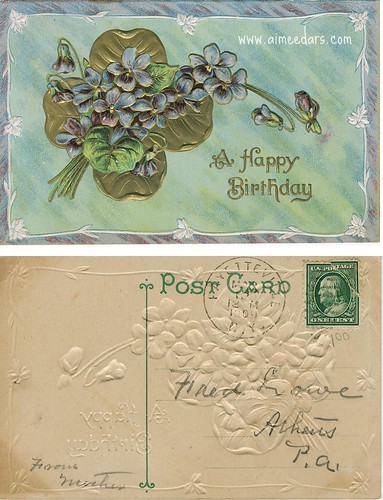 POSTCARD: Birthday - Flowers (1909)