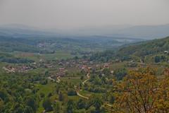 In the valley (Karmen Smolnikar) Tags: trees houses mist view path hills slovenia valley slovenija