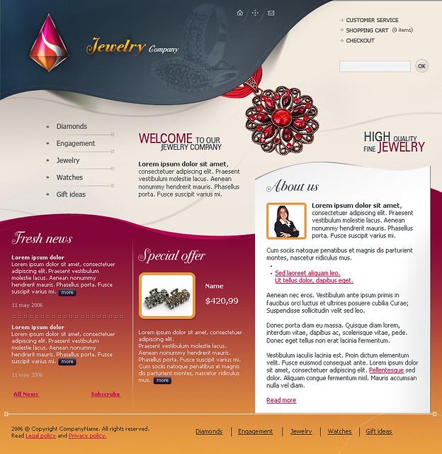 Web Templates Free Flash Website Template Jewellery And - Jewellery website templates