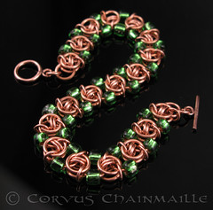 Helm variation with beads (Redcrow at Corvus Chainmaille) Tags: green glass beads mail jewellery chain bracelet copper variation helm chainmail maille chainmaille