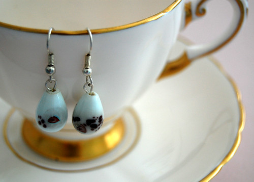 White & Purple Earrings