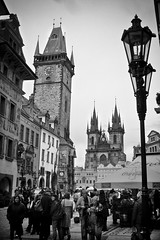 Old Town Square (HaxHeaven) Tags: christmas old bridge blackandwhite bw white black records tower castle clock river easter square book town hall ancient europe king republic czech prague cathedral gothic eu statues meeting charles praha tourist wenceslassquare guinness memory painter czechrepublic astronomy charlesbridge oldtown bohemia vltava biggest wenceslas westerneurope stvituscathedral stnicholaschurch astronomicalclock praguecastle rivervltava janhus týncathedral kingcharlesiv praguebridge kingsofbohemia guinnessbookrecords