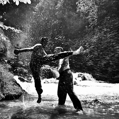 Intersecting a Kick (Ethan in Zrich) Tags: water sport demo blackwhite outdoor menschen carlo ahmed kicking freunde wt splashing kampfkunst wingtsun giessbach ksnacht