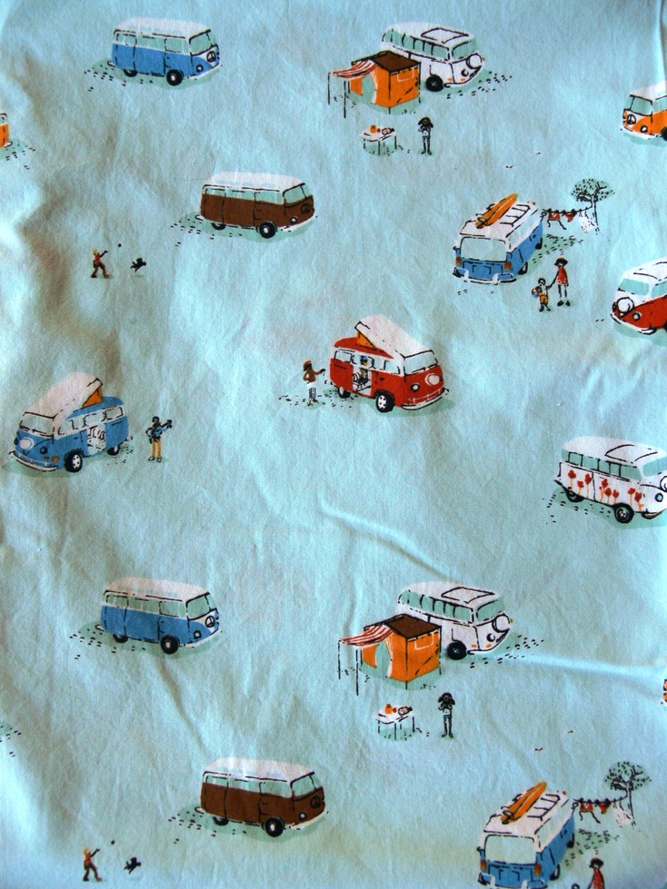 Fat Quarter giveaway -- Heather Ross VW Camper Van fabric in blue