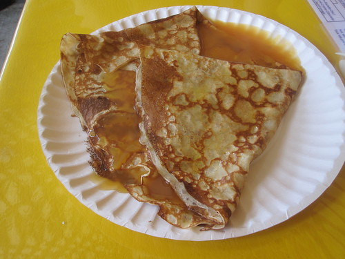 crêpe with salt caramel sauce at Jean-Talon market ($7 with chocolate milk)