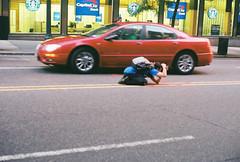 knee-ding to get that shot (~RichArtpix~) Tags: street urban manhattan photographers manhattanhenge streetphotographer shootingtheshooter shootingmanhattanhenge