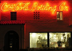 Coke light (Dave van Hulsteyn) Tags: california light red window sign night 1936 vintage highway neon glow historic 99 co sacramento cocacola closing 1927 bottling stocktonblvd 2200stocktonboulevard