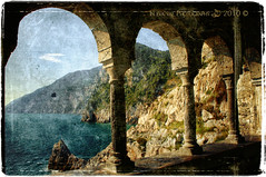 Panoramic views from the Romanesque arches. (in eva vae) Tags: old blue windows light sea italy seascape art history apple church photoshop canon four cool rocks warm eva italia mare shadows framed liguria perspective atmosphere arches medieval cape scratch sanpietro portovenere atmosfera arcs textured antiquity eroded laspezia gotic colums storia layered postprocessing panoramicview promontorio ancienttimes eos500d estremità eoskissx3 superstarthebest quadrifore eosrebelt1i inevavae goticogenovese