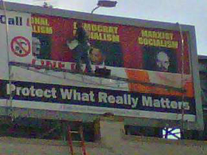 Obama-billboard covered up