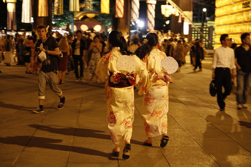 Women in Yukata hurrying away (Mitama Festival 2010)