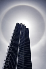 Yet Another Halo in Seattle (Jibby!) Tags: seattle urban sun building architecture skyscraper downtown halo pacificnorthwest tall washingtonstate aura phenomenon meteorological 22halo