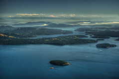 San Juan Islands and Glacier Peak (ecstaticist) Tags: ocean blue de islands washington san juan pentax aerial hdr strait helijet kx fuca photomatix