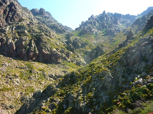 Remontée de la Haute Lonca : aux abords du 1er ruisseau avec la bergerie de Terrici au bout de la falaise en RD