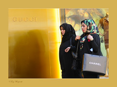 London Fashion (Tony Margiocchi (Snapperz)) Tags: street ladies england colour london fashion yellow female gold women pretty dress candid muslim islam rich hijab gucci covered chanel scarfe islamic burka headscarfe