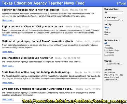 Texas Education Agency Teacher News Feed