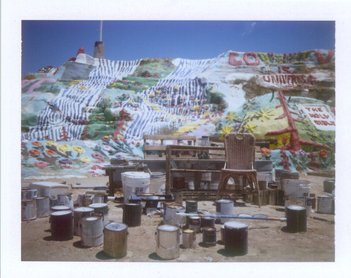 salvation mountain-artist's chair and supplies