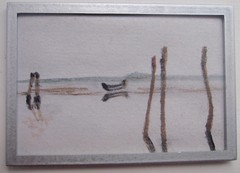 Boat on the water, miniature painting by me