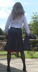 Grey skirt suit (deborah summers2010) Tags: stockings silk skirt suit heels slip suspenders satin nylon