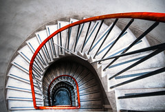 Tenement Symphony (Semi-detached) Tags: red building architecture stairs grey scotland edinburgh interior steps july rail architect block circular bannister tenement 2010 semidetached