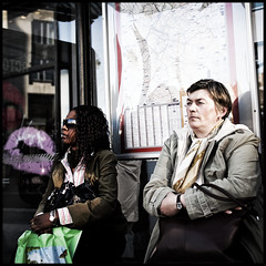 Lets just ignore him... (anders.rorgren) Tags: street color square women waiting candid bruxelles busstop brussel