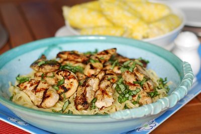 Marzipan: Lemon and Basil Pasta with Grilled Chicken